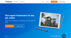 A picture of the freelance programming platform Freelancer.com's homepage image