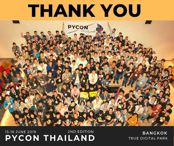 Programmers posing for a picture at PyCon Thailand, a Python programming conference.