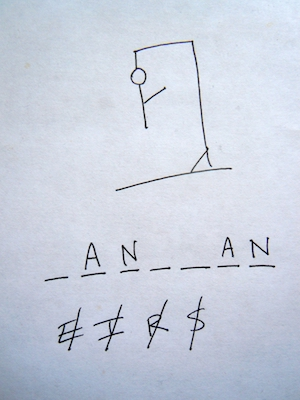A picture of the game Hangman