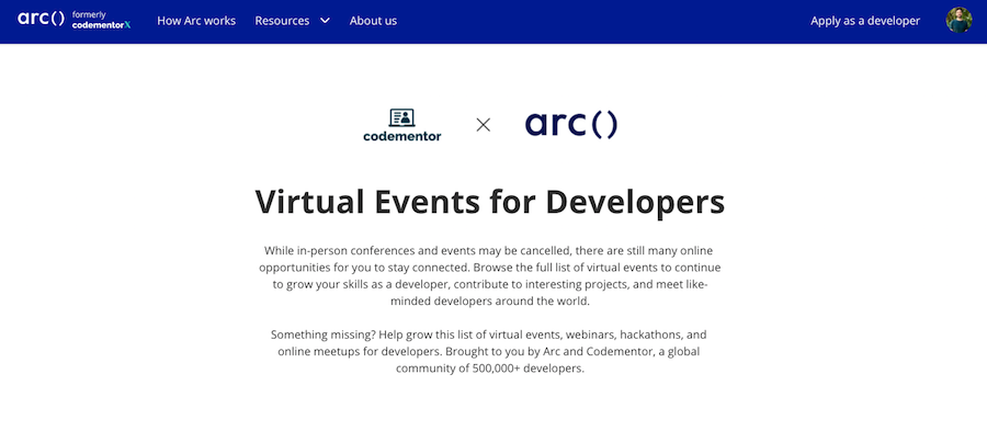 Virtual events website by Arc